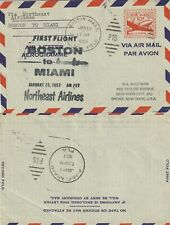 US 1957 NORTHEAST AIR FIRST FLIGHT FLOWN AIR MAIL COVER BOSTON TO MIAMI