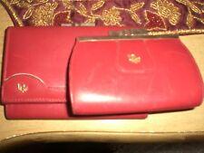 Dior Vintage Red Leather Checkbook/Change Purse Set