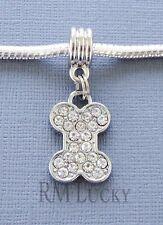 ONE Pendant Srystal DOG Bone. Large hole bead. Fits European Charm Bracelet C214