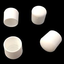 4x Fusskappe 19 mm für runde Rohre Weiß Stapel- Gartenstuhl Schutzkappe Bank