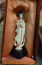 Antique Japanese Geisha girl Hand Carved Resin cream Statue figure figurine +box