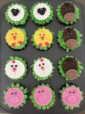 Farm Animal Cupcake Toppers Fondant , Icing Sugar, Gum Paste, Birthday Party
