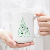 Funny Merry Catmas Cat Christmas Tree Mug Cup Of Cat Lover Ceramic Coffee Mug