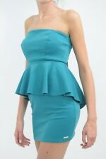 RINASCIMENTO - bottle green peplum tube dress S / UK 8