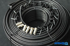 50m Black Twin Satellite Coax Coaxial Extension Cable F connector Lead 4 Sky TV