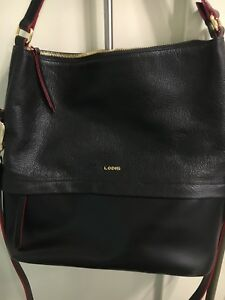 Lodis Kate Sunny Hobo Bag Black Leather + Red Accents NWT - New