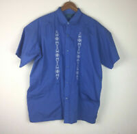 Tropi Cool Lounge Pearl Snap Shirt Guayabera Blue Short Sleeve Shirt Large