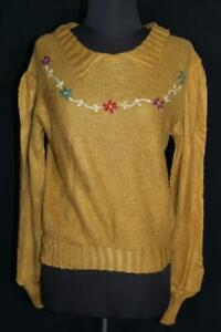 VINTAGE FRENCH WWII ERA 1940'S DARK GOLD WOOL HAND MADE SWEATER SIZE 42
