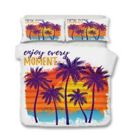 Tropical Palm Trees Beach Zigzags Adult Kids Bedding Duvet Quilt Cover Set Gift