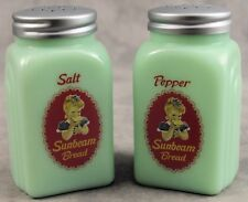 JADEITE GREEN GLASS SUNBEAM BREAD SALT & PEPPER SHAKER SET ~OFFICIAL LICENSED~