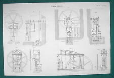 STEAM ENGINE Non COndensing Plans Elevations - c. 1835 Fine Quality Print