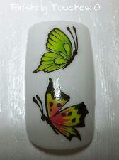 Nail Art de transferencia de agua-Mate Verde Naranja Mariposa calcomanía # 401 M58 pegatina