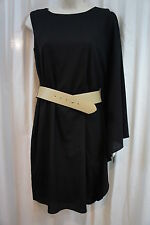 M60 Miss Sixty Dress Sz 6 Black Batwing Sleeve Belted Waist Evening Party Dress