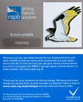 RSPB Pin Badge   Osprey flying   GNaH backing card [00387]