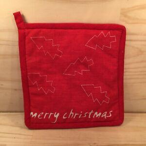 "MERRY CHRISTMAS ""Red"" Beautiful Pot Holder Festive Kitchen Oven Mitt Cloth"