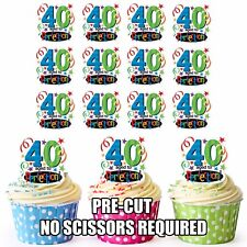 PRECUT Fun 40th Birthday 12 Edible Cupcake Toppers Decorations Party Mens Ladies