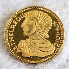 RE aethelred II 979 - 1016 22 kt Placcato Oro Marchiato Argento PROOF MEDAGLIA 21 mm