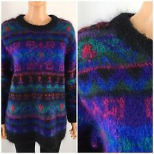 Vintage 80s 90s Mohair Fuzzy Fluffy Sweater Multi Color 78% Mohair Oversized M