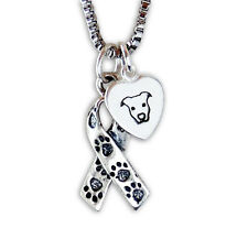 Awareness Ribbon with Paw Prints & Pit Bull Heart Sterling Silver Necklace S1
