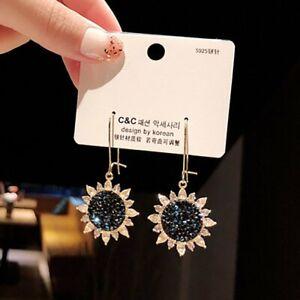 Fashion Crystal Sunflower Blue Daisy Earrings Stud Long Drop Dangle Hook Women