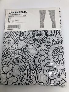 "New Ikea Vanskaplig Black White Kaleidoscope Curtains Two Panels 47"" x 98"""