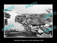 OLD LARGE HISTORIC PHOTO OF HARTLEPOOL ENGLAND, VIEW OF THE OLD HARBOUR c1950