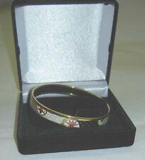MICHAELA FREY Egyptian Lotus Sun River Nile 24K Enamel Round Bangle Bracelet