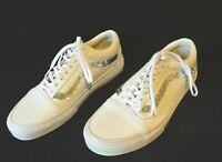 Vans Old Skool Shiny Sequins White Skate Shoes New Leather Mens 7 / Women 8.5