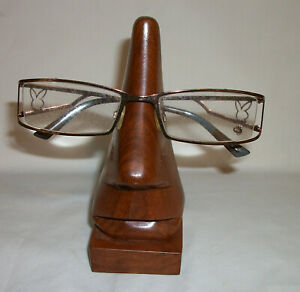 Carved Teak Glasses Spectacles Nose Stand