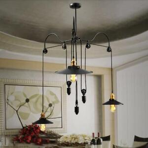 Retro Vintage Pulley Adjustable Hanging Ceiling Light 3 Way Mirror Lamp Shade