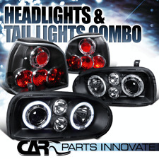 For 93-98 VW Golf Mk3 Black Halo Projector Headlights+Tail Lights Brake Lamps