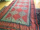 """Amazing early 20C Antique Kashmir Tapestry crewl embroidered 74"""" x 140"""" AS IS"""