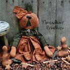 PATTERN  Primitive Raggedy Halloween Fall Pumpkin Head Doll FREE SHIPPING