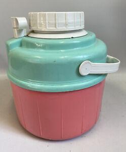 Vintage 90's Pink Teal Portable Large Drink Beverage Cooler Summer Beach Pool