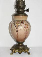 09C60 ANCIENNE LAMPE A PÉTROLE FAÏENCE FRANÇAISE A DETERMINER VERS 1880 XIXe
