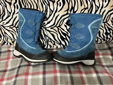 Womens Blue LL Bean Winter Snow Boots Blue With Liner Sz 7