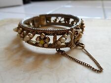 Vintage Florenza Cuff Bracelet W/Faux Pearls & Safety Chain 1950's 44.8 Gr. E/C