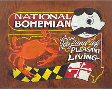 Natty Boh Crab & Maryland  Poster Print vintage  style art decor baltimore beer