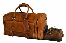 24 Inch Genuine Leather Duffel Travel Overnight Weekend Leather Bag Sports GYM