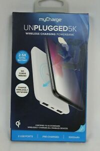 myCharge Unplugged 5K Wireless Charger + Power Bank, White