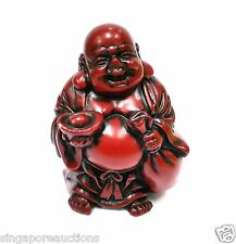 COLLECTIBLE MINI GOOD FORTUNE LAUGHING BUDDHA RED RESIN FIGURE PROSPERITY LUCKY