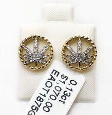 10K Yellow Gold 0.13Ct Natural Diamond Pot Marijuana Leaf Stud Earrings Unisex
