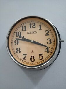 Vintage Seiko Secondary Clock Maritime Chrome Clock  Ship Quartz Japan
