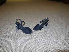Vtg 80s Butterflies Navy Blue Sandals Size 6 Wedge