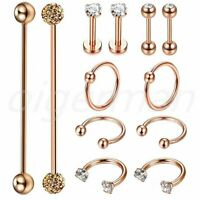 12PCS Surgical Steel Industrial Barbell Cartilage Ear Hoop Helix Tragus Labret
