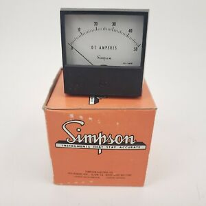Simpson Analog Panel Instrument 50DC Amps Ammeter 2123 0-50mV DC