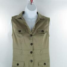 Liz Claiborne Womens Dress Khaki Tan Half Button Up Safari Casual Sz 8P Pockets