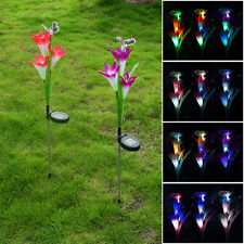 New listing Solar Powered Led Lamp Outdoor Ground Plug Cactus Plant Lily Flower Ga