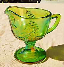 BEAUTIFUL VINTAGE MID-20th CENTURY GREEN CARNIVAL GLASS CREAMER W/ GRAPE PATTERN
