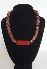 Antique Trade Bead Necklace w Very old Carnelian Bead